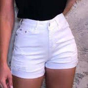 Kensie White Distressed Denim Shorts NWT